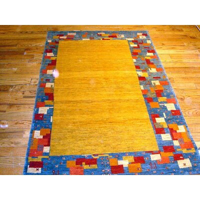 Gabbeh Hand-Knotted Gold Area Rug