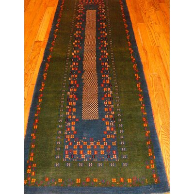 Gabbeh Hand-Knotted Green/Blue Area Rug