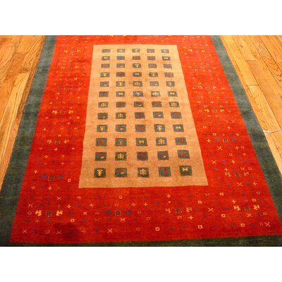 Gabbeh Hand-Knotted Red/Beige Area Rug