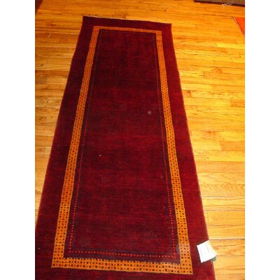 Gabbeh Hand-Knotted Red Area Rug