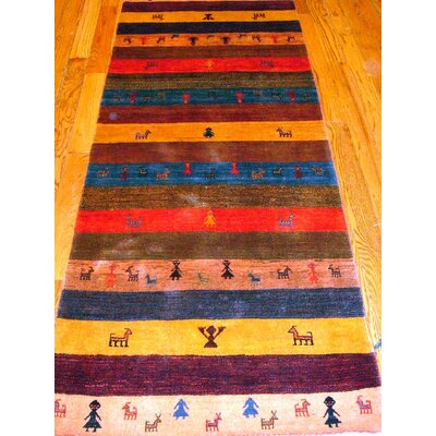 Gabbeh Hand-Knotted Brown/Red Area Rug