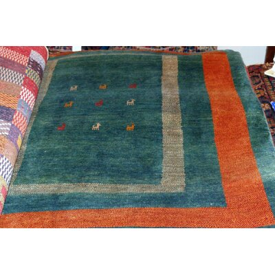 Gabbeh Hand-Knotted Green Area Rug