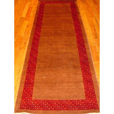 Gabbeh Hand-Knotted Camel/Red Area Rug