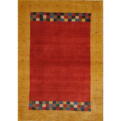 Gabbeh Hand-Knotted Red/Camel Area Rug