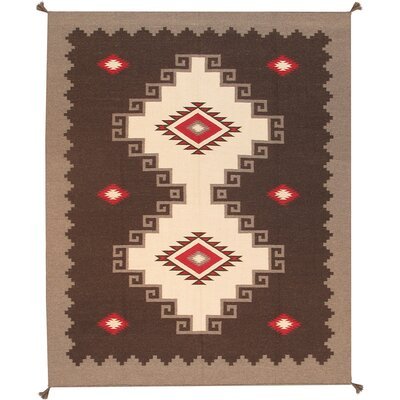 Navajo Hand-Knotted Brown Area Rug