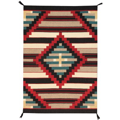 Navajo Hand-Knotted Ivory/Black Area Rug