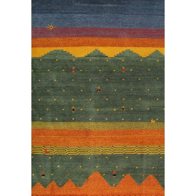 Sumak Hand-Knotted Green/Orange Area Rug