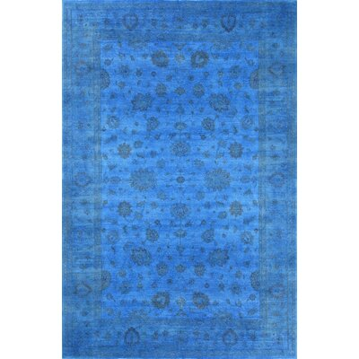 Overdyed Hand-Knotted Blue Area Rug