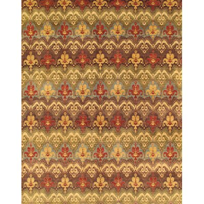 Ikat Hand-Knotted Brown/Red Area Rug Rug Size: 9 x 12