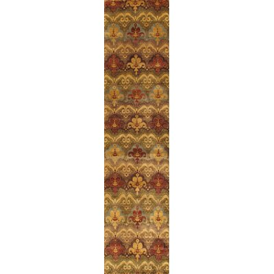 Ikat Hand-Knotted Brown/Red Area Rug Rug Size: Runner 29 x 12