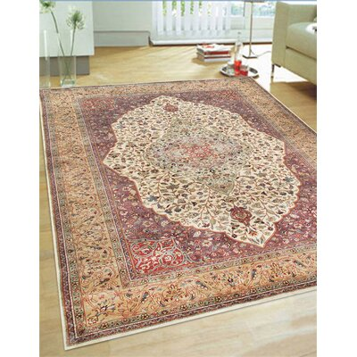 Tabriz Hand-Knotted Ivory/Camel Area Rug