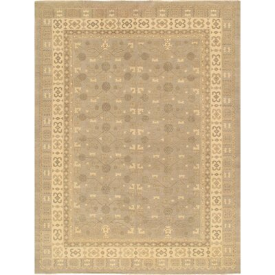 Khotan Hand-Knotted Light Gray/Beige Area Rug Rug Size: 9 x 13