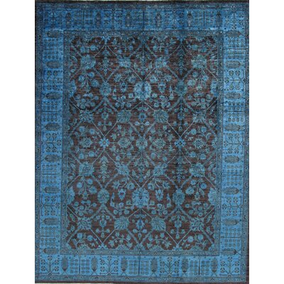 Overdyed Hand-Knotted Brown/Blue Area Rug