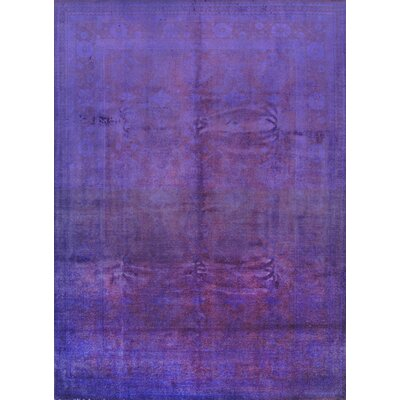 Overdyed Hand-Knotted Purple Area Rug