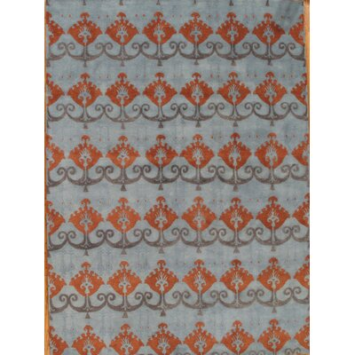 Ikat Hand-Tufted Blue/Orange Area Rug