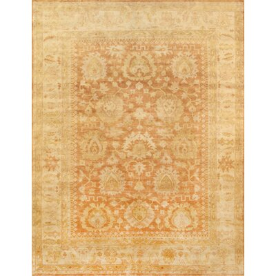 Oushak Hand-Knotted Coral Area Rug Rug Size: Rectangle 12 x 15