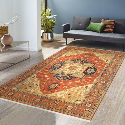 Serapi Hand-Knotted Rust/Tan Area Rug