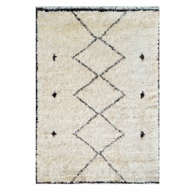Moroccan Wool Hand-Knotted Beige Area Rug Rug Size: 710 x 102