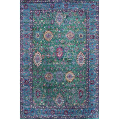 Suzani Sari Silk Hand-Knotted Green/Purple Area Rug