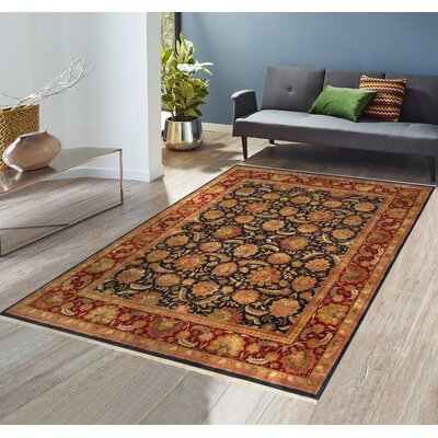 Agra Mogul Art Hand-Knotted Red/Black Area Rug