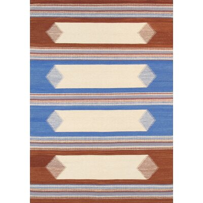 Kilim Hand-Woven Brown/Blue Area Rug