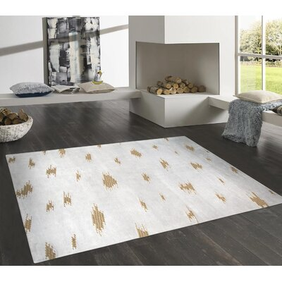 Modern Hand-Knotted Gray/Gold Area Rug