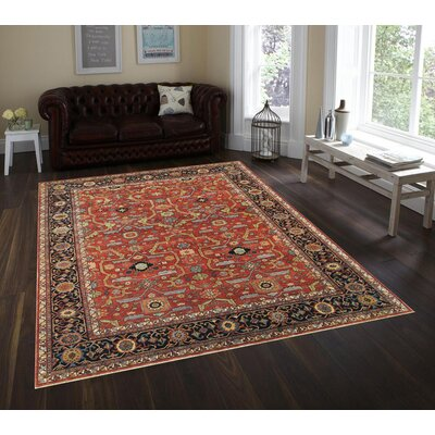 Ferehan Hand-Knotted Rust/Navy Area Rug Rug Size: Rectangle 4 x 6