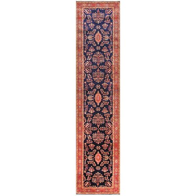 Sarouk Hand-Knotted Navy/Rust Area Rug Rug Size: Runner 27 x 12