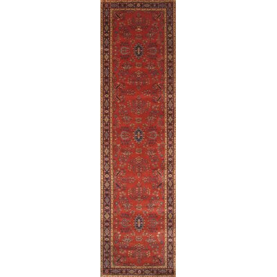 Sarouk Hand-Knotted Rust Area Rug Rug Size: Runner 26 x 10