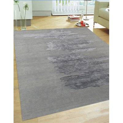 Modern Silk/Wool Hand-Knotted Dark Gray Area Rug