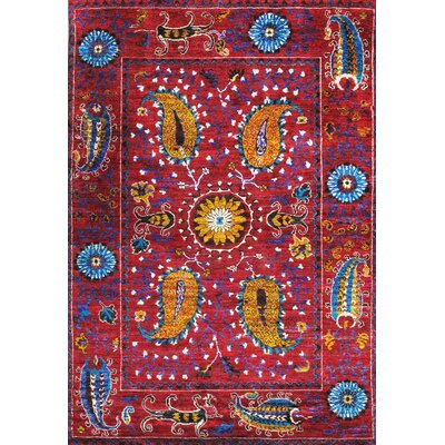 Santa Fe Sari Silk Hand-Knotted Red Rug Rug Size: 7 x 11