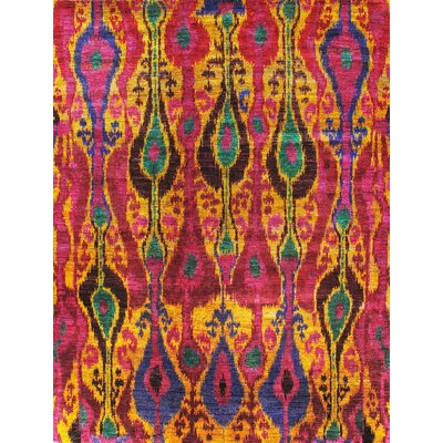 Elegance Ikat Sari Silk Hand-Knotted Red Area Rug Rug Size: 4 x 6
