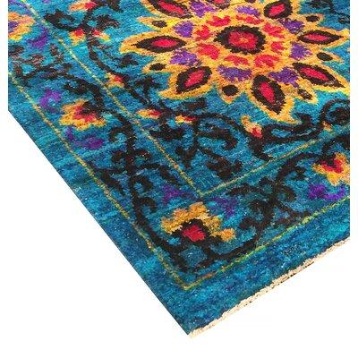 Santa Fe Sari Silk Hand-Knotted Blue Area Rug Rug Size: 6 x 8