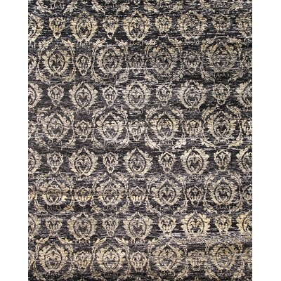 Sari Silk Hand-Knotted Black Area Rug