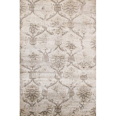 Transitional Hand-Knotted Beige Area Rug