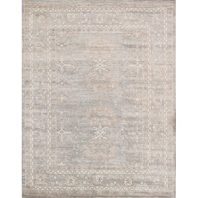 Oushak Hand-Knotted Gray Area Rug Rug Size: Rectangle 10 x 14, Material: Silk