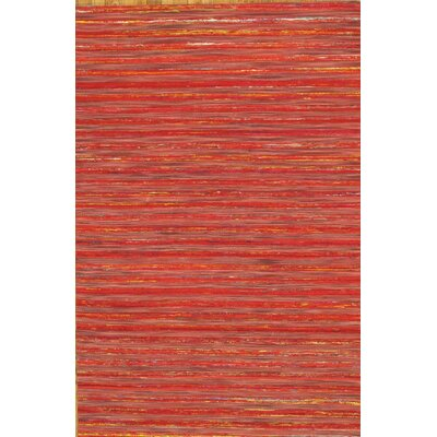 Modern Sari Silk Hand-Loomed Red Area Rug Rug Size: 8'9