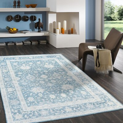 Oushak Rayon from Bamboo Silk/Wool Hand-Knotted Blue Area Rug Rug Size: Rectangle 5 x 8