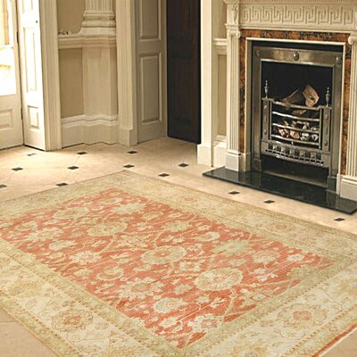 Sultanabad Hand-Knotted Coral/Ivory Area Rug Rug Size: Rectangle 10 x 14