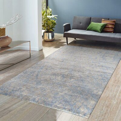 Modern Rayon from Bamboo Silk Hand-Knotted Gray/Taupe Area Rug Rug Size: 8 x 10