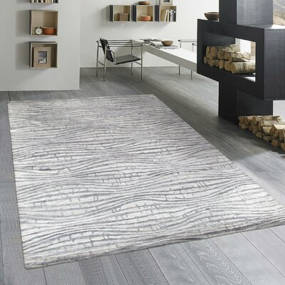 Modern Rayon from Bamboo Silk Hand-Knotted Silver Area Rug Rug Size: 8 x 10