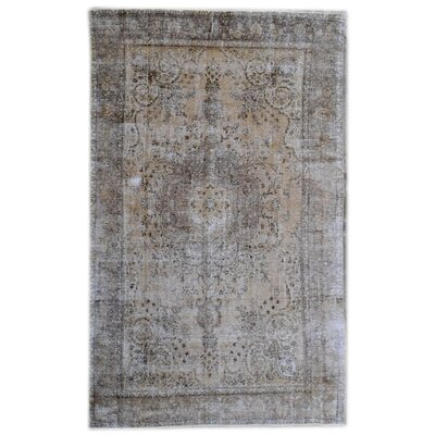 Overdyed Wool Hand-Knotted Beige Area Rug