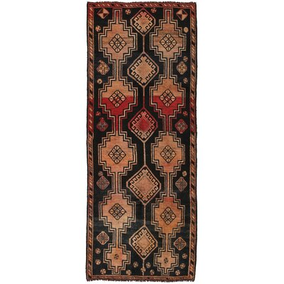 Shiraz Vintage Lambs Wool Hand-Knotted Black/Beige Area Rug