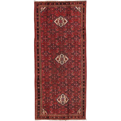 Hamadan Vintage Lambs Wool Hand-Knotted Red Area Rug