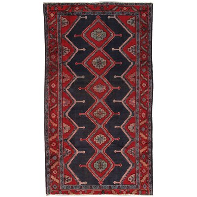 Hamadan Vintage Lambs Wool Hand-Knotted Red/Navy Area Rug