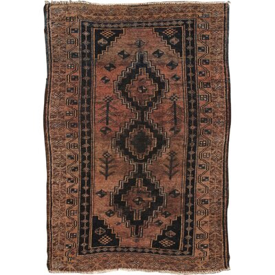 Hamadan Vintage Lambs Wool Hand-Knotted Rose/Black Area Rug