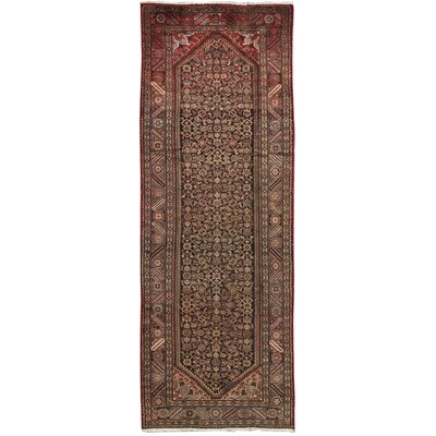 Hamadan Vintage Lambs Wool Hand-Knotted Brown Area Rug