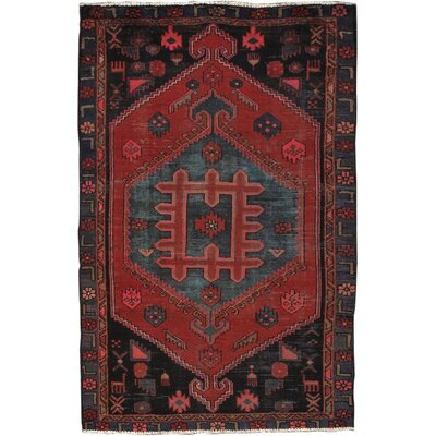 Hamadan Vintage Lambs Wool Hand-Knotted Black/Rust Area Rug