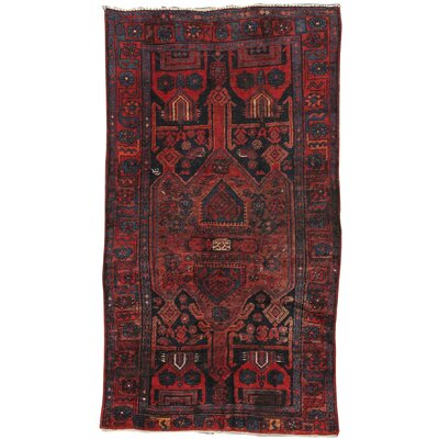Hamadan Vintage Lambs Wool Hand-Knotted Navy/Red Area Rug