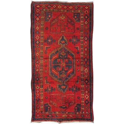 Moud Vintage Lambs Wool Hand-Knotted Red Area Rug
